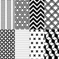 8 Geometric seamless patterns by Side Project on Creative Market Geometric Pattern Design, Geometric Designs, Motif Art Deco, Vintage Typography, Vintage Logos, Retro Logos, Zentangle Patterns, Zentangles, White Patterns