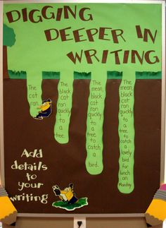 Digging deeper in writing bulletin board: this bulletin board goes along with our study of writing sentences at the beginning of the year (adding details, etc. by aftr Writing Lessons, Teaching Writing, Writing Activities, Writing Skills, Writing Ideas, Sentence Writing, Narrative Writing, Writing Sentences, Paragraph