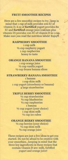 Fruit Smoothies (DF milk and DF yogurt)
