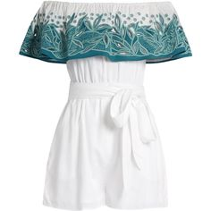 Mara Hoffman Leaf-embroidered off-the-shoulder playsuit (€170) ❤ liked on Polyvore featuring jumpsuits, rompers, dresses, playsuits, green white, white off the shoulder jumpsuit, white off the shoulder romper, white cutout jumpsuit, white cut out jumpsuit and romper jumpsuit