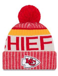 859eacdc8ad Kansas City Chiefs NFL17 Sideline Cuffed Pom Knit Hat By New Era