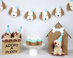 Puppy Garland Adopt a puppy adopt a puppy decor puppy Puppy Birthday Parties, Dog Birthday, Birthday Party Themes, Dog Theme Parties, Spa Sleepover Party, Fete Emma, Animal Party, Cupcake Toppers, Nacho Bar