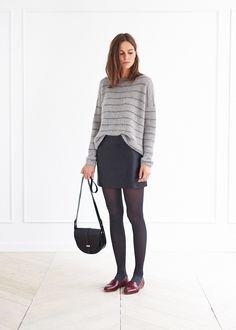fashion, style, skirt, satchel, stripy top, jumper, tights, autumn