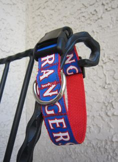 Texas Rangers Baseball 1 Wide Adjustable Dog Collar by SweetKeeps, $15.00