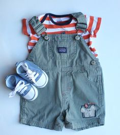 Summer Baby Boy Outfit.  Overalls (Shortalls) by Osh Kosh with Bear on Lower Leg ~ Perfect for Your Little Cub!  All   Baby Boy Clothes Pictured and More Available in Our Store at Bargain Prices.