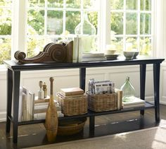 Metropolitan Long Console Table from Pottery Barn Sofa Table With Storage, Sofa Table Decor, Table Lamp, Long Sofa Table, Sofa Tables, Console Tables, Entry Tables, Hall Tables, Accent Tables