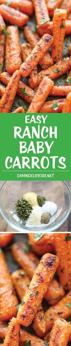 Easy Ranch Baby Carrots - Made with homemade Ranch seasoning and roasted to crisp-tender perfection. And all you need is 5 min prep and one pan. How easy! Cut the oil and butter in half Carrot Recipes, Vegetable Recipes, Vegetarian Recipes, Cooking Recipes, Healthy Recipes, Vegetable Sides, Vegetable Side Dishes, Kefir, All You Need Is