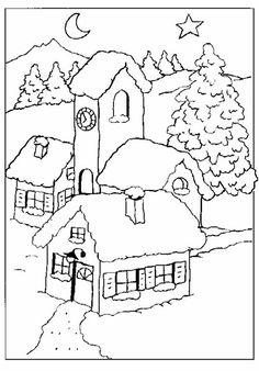 Glass Sticker patterns, dyes, coloring books, stencils, glass painting, winter designs, houses, winter landscapes