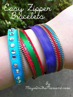 iLoveToCreate Blog: MAYA IN THE MOMENT TEEN CRAFT: Easy Zipper Bracelets