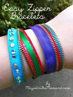 iLoveToCreate Blog: MAYA IN THE MOMENT TEEN CRAFT: Easy Zipper Bracelets