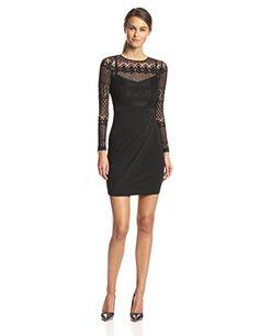 French Connection Women's Lace Drape Long Sleeve Dress, Black, 4 - http://womencontemporarydress.ellprint.com/french-connection-womens-lace-drape-long-sleeve-dress-black-4/