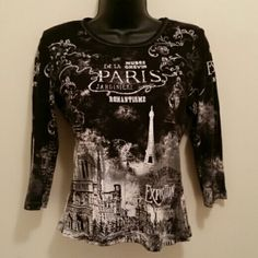 Apt. 9 Paris shirt Black shirt with white and gray Paris graphics and gem effects-100% cotton size small. Cropped sleeves. Very detailed and clean! Worn maybe twice, have had it for awhile but has been sitting in my closet!   BUNDLE ITEM WITH WHAT YOU LOVE TO SAVE MORE!!! Apt. 9 Tops Tees - Long Sleeve