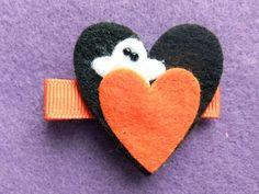 Spooky Love Halloween Heart Felt Hair Clip by CrowesNest on Etsy