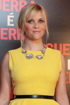 A short, rhinestone necklace paired with a bright crew neck is a MUST! (Reese Witherspoon)