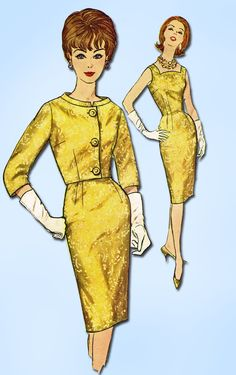 1960s Vintage Simplicity Sewing Pattern 4173 Misses Wiggle Dress & Jacket Sz 38B