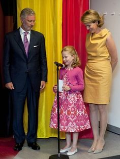 Sept 2011 Princess Elisabeth of Belgium at 9 she is making speech at hospital wing named after her.