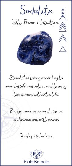 Pin To Save, Tap To Shop The Gem. What is the meaning and crystal and chakra healing properties of sodalite? A stone for will-power, determination and intuition. Mala Kamala Mala Beads - Malas, Mala Beads, Mala Bracelets, Tiny Intentions, Baby Necklaces, Yoga Jewelry, Meditation Jewelry, Baltic Amber Necklaces, Gemstone Jewelry, Chakra Healing and Crystal Healing Jewelry, Mala Necklaces, Prayer Beads, Sacred Jewelry, Bohemian Boho Jewelry, Childrens and Babies Jewelry.