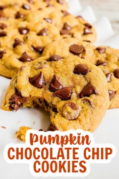 These melt-in-your-mouth pumpkin chocolate chip cookies are a fall treat that just can't be beat! #pumpkincookies #chocolatechipcookies Brunch Recipes, Dessert Recipes, Mama Recipe, Pumpkin Chocolate Chip Cookies, Make Ahead Lunches, Fall Treats, Delicious Desserts, Sweet Treats, Sweets
