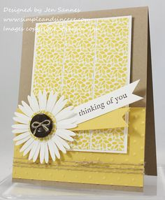 Use formula for monochromatic card or coordinating strips.   Simple & Sincere