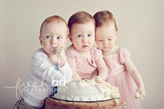 Triplet first birthday pics