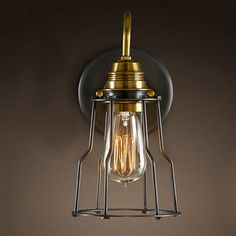 68.60$  Watch now - http://aliwbp.worldwells.pw/go.php?t=32690404740 - cage lighting North American exotic European antique varnish old wall bathroom light iron lamp luminaire abajur bed