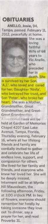 obituaries would be SO much more interesting if the families were as honest as this one was...