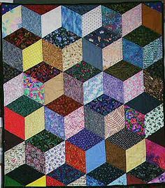 Free Easy Quilt Block Patterns | optical illusion--tumbling blocks
