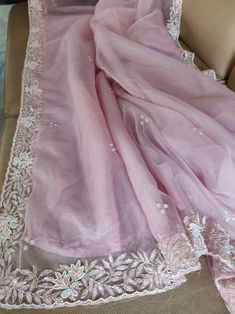 Pearl Embroidery, Fancy Tops, Light Pink Color, Hand Embroidery Designs, Cutwork, Beautiful Saree, Festival Wear, Silk Sarees, Party Wear