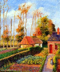 Camille Pissarro     Varengeville Sunset.  was a Danish-French Impressionist and Neo-Impressionist painter born on the island of St Thomas