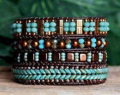 Turquoise Bronze Beaded Leather Wrap, Multi Wrap Bracelet, Tila Super Duo Tile Seed Bead Crystal Bracelet, Bohemian Wrap, Artisan Jewelry