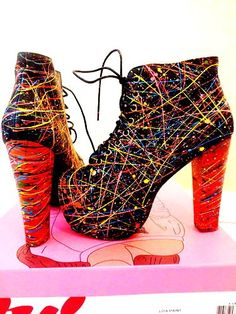Jeffrey Campbell Lita, black with neon paint. Neon High Heels, Neon Shoes, Cute Shoes, Me Too Shoes, Jeffrey Campbell Lita, Lita Boots, Stiletto Shoes, Shoes Heels, Irregular Shoes