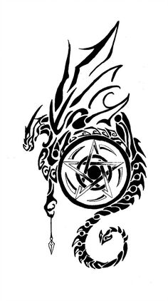 coffee mugs, I-pod/pad cases, and more with this image for sale at [link] I redid [link] because I wanted to use the image on Zazzle but I'm not entirel. Dragon and Pentagram 2 Pentacle Tattoo, Wiccan Tattoos, Viking Tattoos, Celtic Tattoos, Badass Tattoos, Love Tattoos, Body Art Tattoos, Hand Tattoos, Tatoos