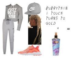 """everythin i touch turns to gold ."" by qveenkyndall16 ❤ liked on Polyvore featuring Victoria's Secret and NIKE"