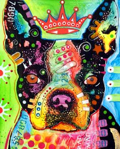 Boston Terrier Crowned Painting  - Boston Terrier Crowned Fine Art Print by Dean Russo