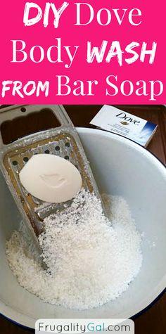Haga su propio DIY Dove Body Wash utilizando una barra de jabón, por la mitad del costo de la tienda de compra-gel de baño.