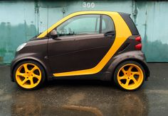 smart car for two black gold Smart Car Body Kits, Smart Brabus, Smart Project, Benz Smart, Best Electric Car, Smart Auto, Car Camper, Smart Fortwo, Mercedes Benz