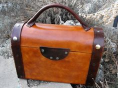 Classic Leather Lunchbox by delugeonal: $120