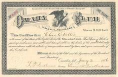 Omaha Club stock certificate 1886 (Nebraska)