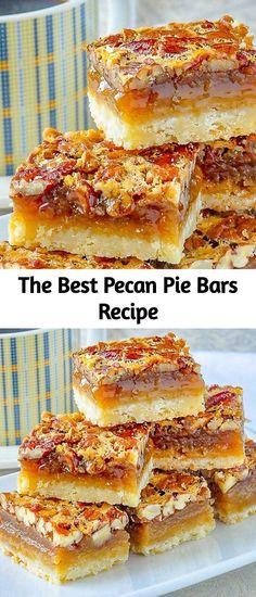 The Best Pecan Pie Bars Recipe This easy recipe includes a simple shortbread bottom and a one bowl mix & pour topping. Tips for baking and cutting them are included. Best Pecan Pie, Pecan Pie Bars, Eat Dessert First, Dessert Bars, Cookie Recipes, Dessert Recipes, Sweet Recipes, Simple Recipes, Keto Recipes