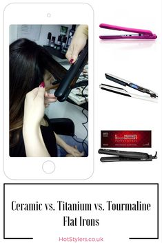 Ceramic vs Titanium vs Tourmaline Flat Irons - I put all of them to the test in this simple guide, written by a pro hair stylist. Best Hair Straightener, Hair Straightening Iron, Tourmaline Flat Iron, Curly Iron, Frizz Free Hair, Ceramic Flat Iron, Curly Hair Types, Diy Hairstyles