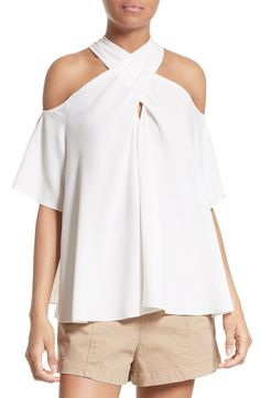 Silk Cold Shoulder Top