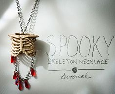 Easy tutorial for a spooky skeleton necklace made out of dollar store decor.