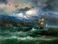 maritime nautical ~ A Clipper in Stormy Sea at a Rocky Coast by Ivan Aivazovsky Ship Paintings, Paintings I Love, Seascape Paintings, Landscape Paintings, Stürmische See, Moby Dick, Landscape Pictures, Ocean Art, Ship Art