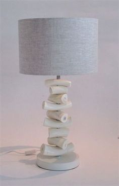 Kudu Inner Horn Upright Piece Lamp & Natural Two-tone linen Shade