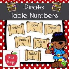 This colorful set of table numbers are part of my Pirate Classroom Decor collection. My Pirate Table Numbers are accented with bright colors and pirate themed graphics! This set includes table numbers 1-8 #teacherspayteachers #tpt #backtoschool #classroommanagement 2nd Grade Activities, Easel Activities, Classroom Decor, Classroom Resources, Pirate Theme, Elementary Teacher, Teacher Newsletter, Table Numbers, Classroom Management
