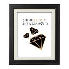 Black & Gold  Shine Bright Like a Diamond by GiltDesignGroup, $15.00