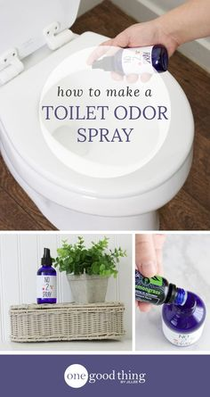 """How To Make A Natural Toilet Odor Spray With Essential Oils Learn how to make your own toilet odor spray (a la """"Poo-pourri""""). The all-natural formula is powered by essential oils. Homemade Cleaning Products, Cleaning Recipes, Natural Cleaning Products, Cleaning Hacks, Natural Products, Cleaning Solutions, Diy Hacks, Bergamot Essential Oil, Essential Oil Uses"""