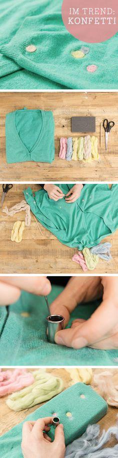 DIY-Anleitung: Konfetti filzen, Flicken herstellen / diy tutorial für confetti patches, felt via DaWanda.com