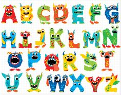 Alphabet Clipart - Monster ABC I wonder why this is labeled for a girl? Alphabet A, Alphabet Wall Decals, Nursery Wall Decals, Alphabet Party, Alphabet Posters, Nursery Decor, Wall Decor, Wall Art, Funny Monsters