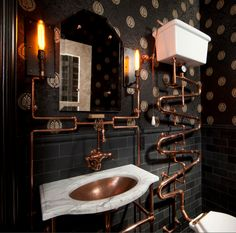 Steampunk bathroom. (Designed by Andre Rothblatt Architecture)